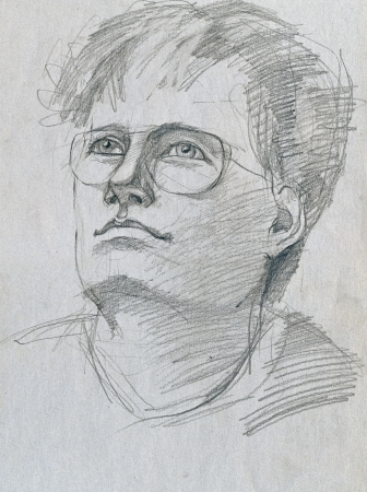 pencil drawing, young man as intellectual photo