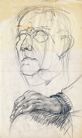 hand drawing picture, pencil, an old man sketch photo