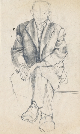 hand drawing picture, pencil sketch, man without face
