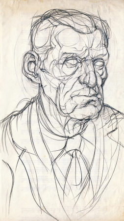 hand drawing picture, pencil, an old man face