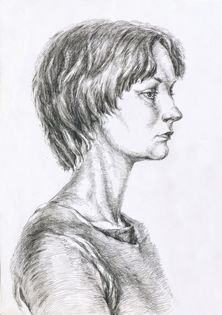 hand drawing picture, pen and ink, young girls portrait photo