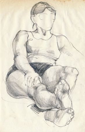 hand drawing picture, pencil, at home - woman photo