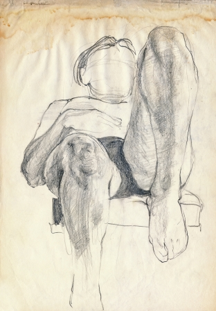 fine legs: hand drawing picture, pencil - the body pose