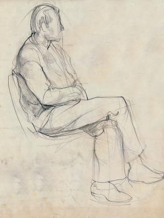 imagen Dibujo a mano alzada, el lápiz, la actitud del hombre Foto de archivo - 14825153