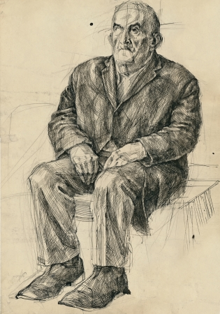 hand drawing picture, pen and ink, sitting old man photo