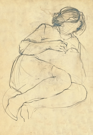 repose: sketch of repose woman without face, pencil drawing
