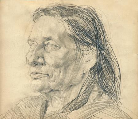 손 그리기 그림 - 알 수없는 여자의 연필, 얼굴