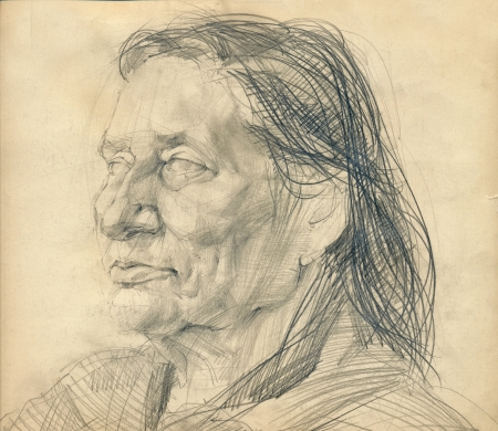 draft: hand drawing picture - pencil, face of unknown woman Stock Photo
