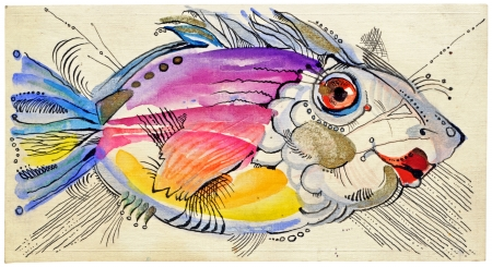 archaically: hand drawing - the fish Stock Photo