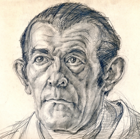 hand drawing picture, pencil technique, the look of man Stock Photo