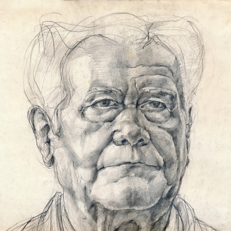 hand drawing picture, pencil technique, an old man photo