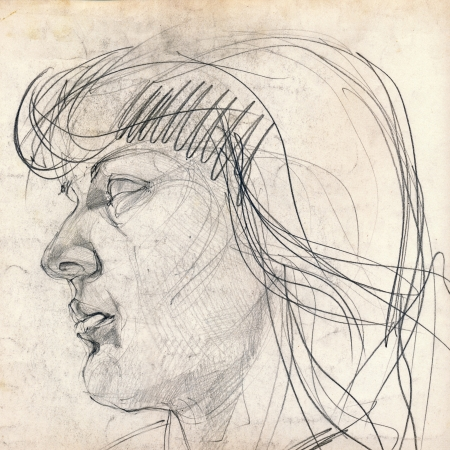 hand drawing picture, girl-s face, pencil technique photo