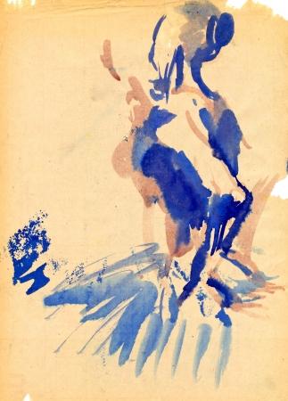 fine art painting: ballerina - watercolors technique