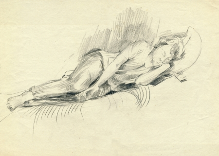 tiredness: rest - pencil drawing