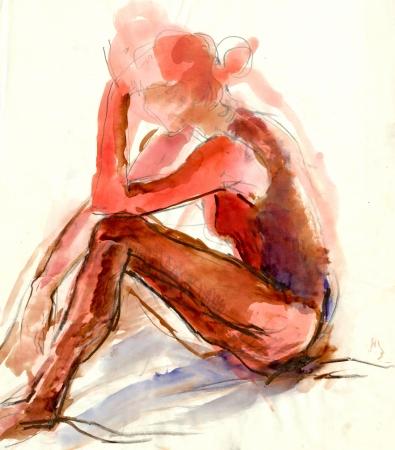 academic touch: ballerina - watercolors technique