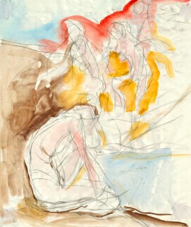 archaically: sad figure - pencil and watercolors technique