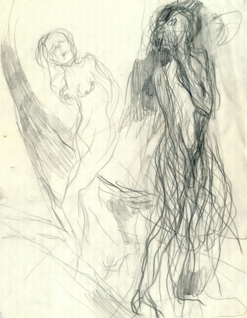 artistic nude: expression, two figures - drawing