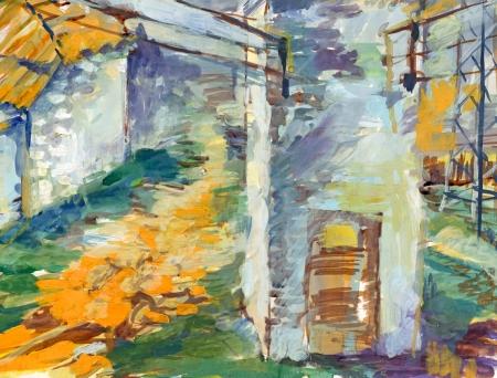 archaically: transformer, village backyard - painting