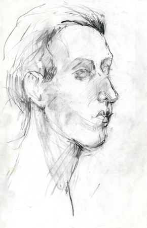 archaically: head, drawing