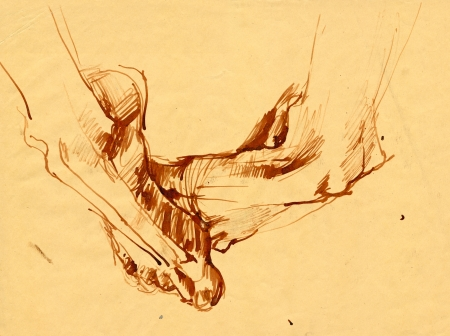 feet - drawing, brown ink photo