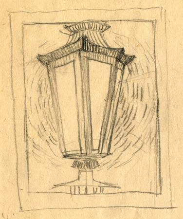 archaically: lantern - pencil technique, drawing Stock Photo