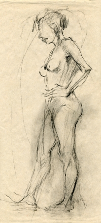 nude woman posing: an unknown naked woman - drawing, black charcoal technique