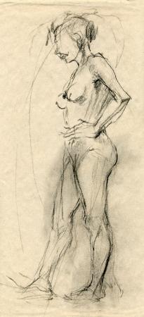 una mujer desconocida desnudo - dibujo, t�cnica de carboncillo negro Foto de archivo - 15002995