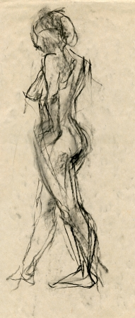 an unknown naked woman - drawing, black charcoal technique