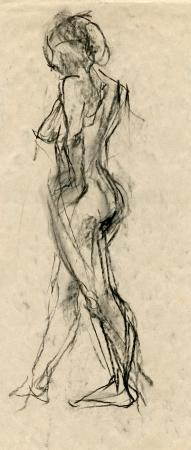 desnudo artistico: una mujer desconocida desnudo - dibujo, t�cnica de carboncillo negro