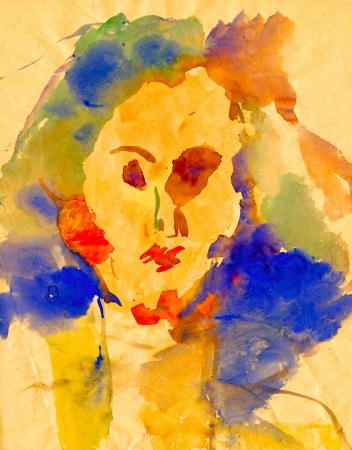 archaically: head - watercolors painting Stock Photo