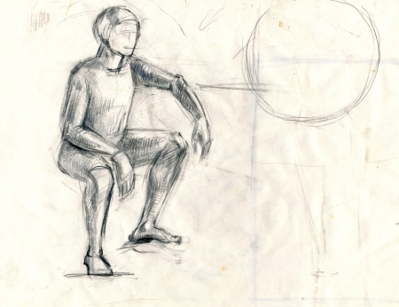 archaically: drawing - an sitting person