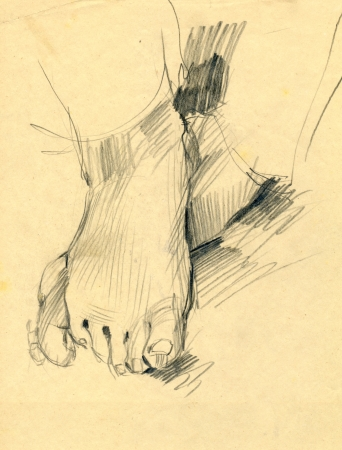 drawing - foot, black charcoal technique photo