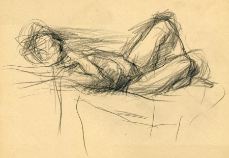 academic touch: drawing - an lying person