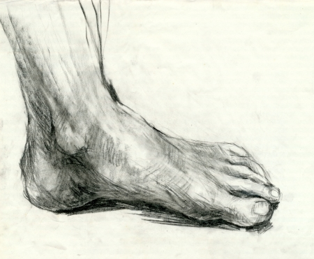 human body parts: drawing - foot, black charcoal technique Stock Photo