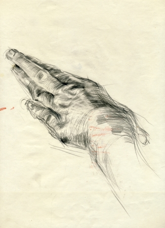 archaically: drawing - hand, black charcoal technique Stock Photo