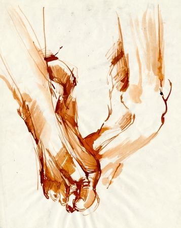 archaically: hand drawink, ink, soles
