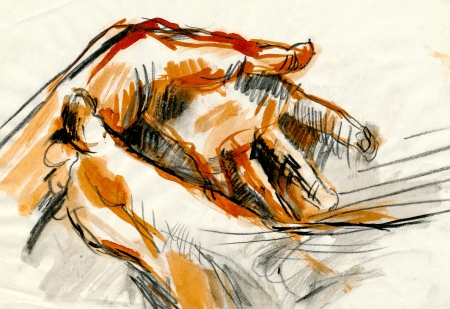 academic touch: drawing - hand and sole, black charcoal and ink Stock Photo