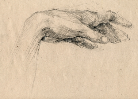 archaically: hand drawing, black charcoal technique - palm Stock Photo