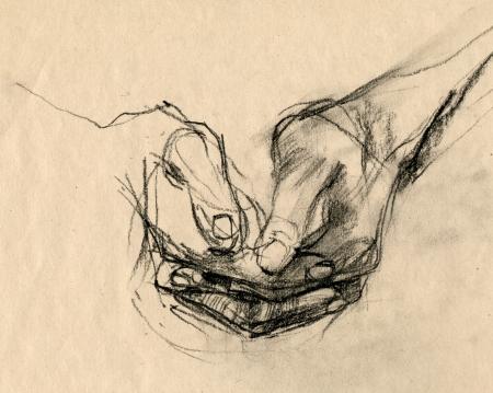 partes del cuerpo humano: dibujo a mano, la técnica de carboncillo negro - manos