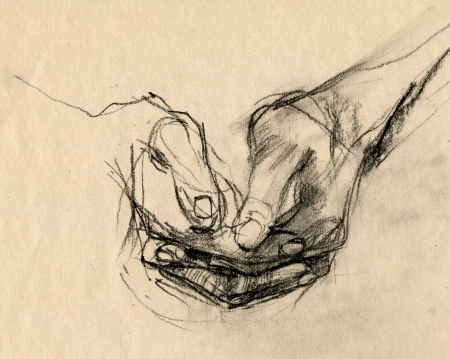 archaically: hand drawing, black charcoal technique - hands