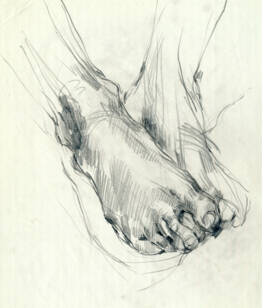 hand drawing, black charcoal technique - foot photo