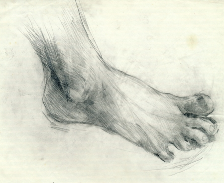 archaically: hand drawing, black charcoal technique - foot Stock Photo