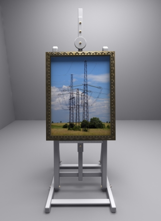 contry: Cg picture, rendering - easel  high voltage  Stock Photo