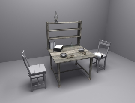 kitchen studio: Cg picture, rendering - the room