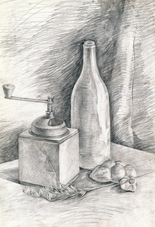 pencil drawing: still life, hand drawing, pencil technique Stock Photo