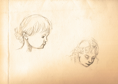 archaically: hand drawing, vintage picture processing - heads