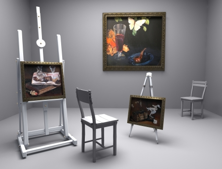 atelier: artistic atelier, interior - mixed media, cg and painting