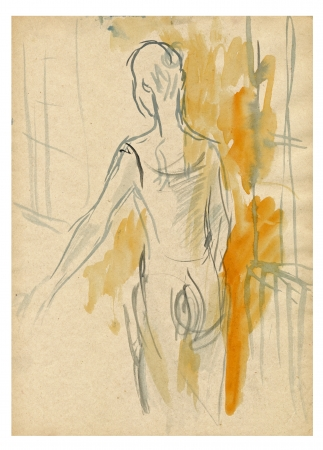 archaically: watercolors - exercise in front of mirror, ballerina
