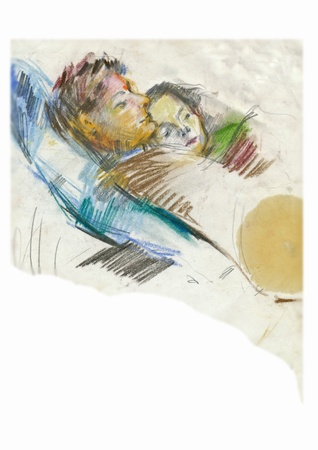 academic touch: drawing, couple at home