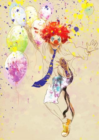 crazy hair: happy clown - hand drawing using digital tablet Illustration